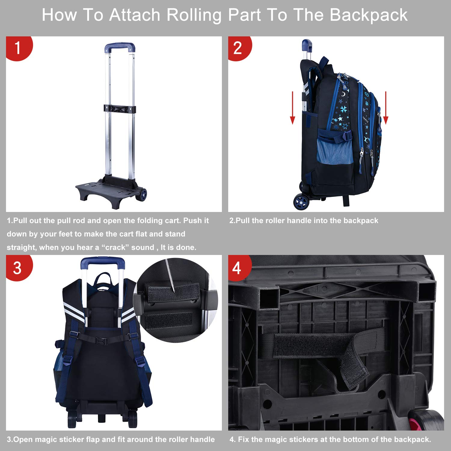 8b7b7aea66b5 COOFIT Kids Backpack Trolley Bag Boys Girls School Bag Children's Backpack  Rolling Backpack with Wheels - Luggage and Travel Accessories