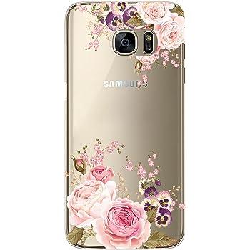 4a2849055af353 JIAXIUFEN Galaxy S7 Hülle, TPU Silikon Schutz Handy Hülle Handytasche  HandyHülle Etui Schale Schutzhülle Case Cover für Samsung Galaxy S7 - Rose  Flower