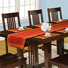 Dhrohar Hand Woven Cotton 1 Table Runner and 6 Mat Set - Set of 7 - Orange