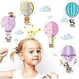 Little Deco Muursticker kinderkamer ballon dieren meisjes I 2 A4 vellen I Muursticker heteluchtballon Muursticker Babykamer O