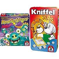 Schmidt Spiele 40557 Monsterjäger, Aktionsspiel, bunt & 51245 BMM Kniffel Kids, Bring Mich mit Spiel in der Metalldose…