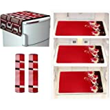 Factcore Premium Quality Combo of Exclusive Decorative Kitchen Combo Fridge Top Cover(Red), Fridge Handle Covers (Red…