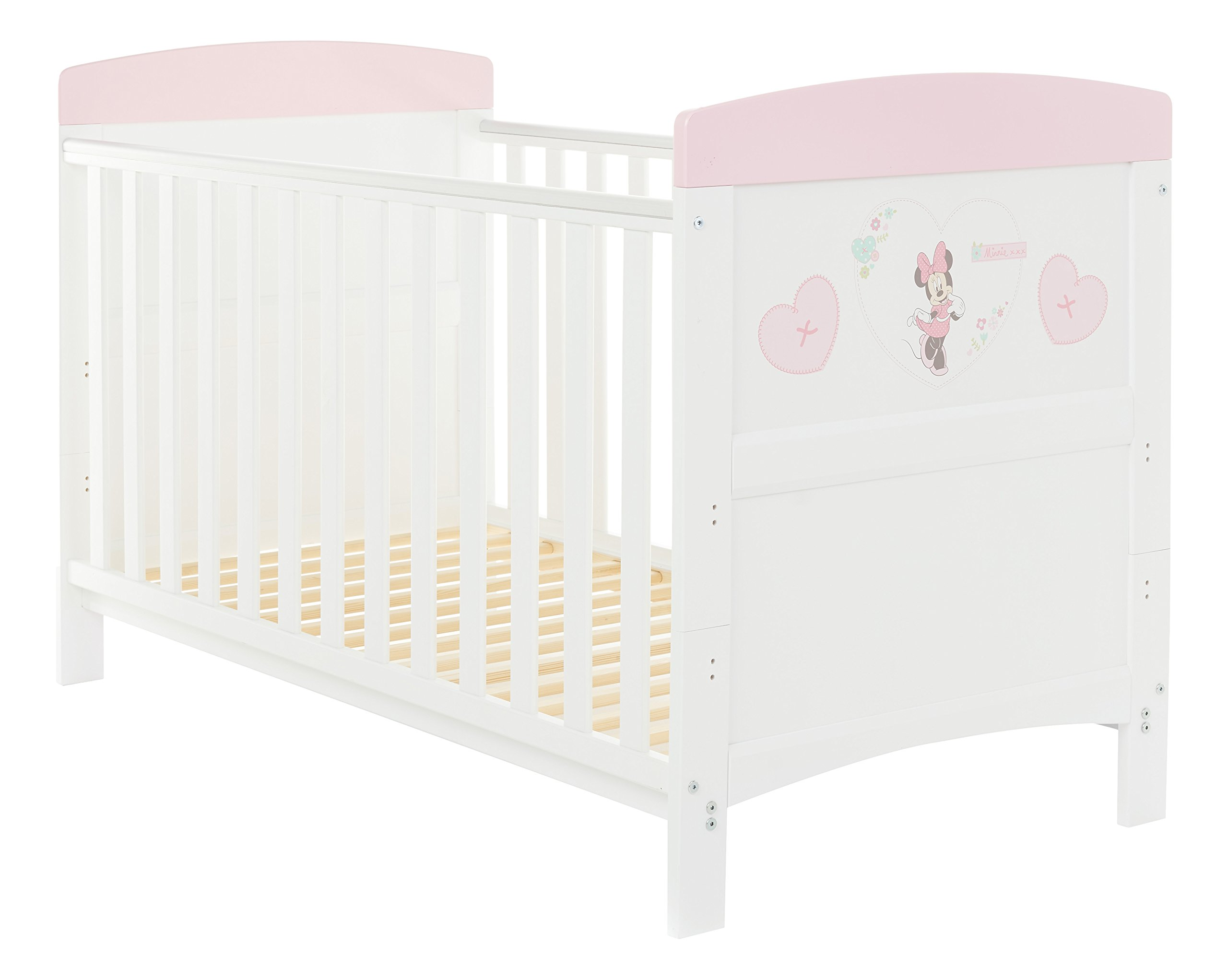 Disney Minnie Mouse Inspire Cot Bed - Hearts Obaby Adjustable 3 position mattress height Bed ends split to transforms into toddler bed Protective teething rails along both sides 1