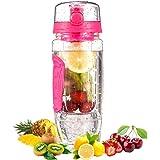 OMORC Trinkflasche Fruit Wasserflasche Protein Shaker Flasche 2-in-1-Auslaufsicher, 750ml Auslaufsicher Sportflasche BPA-Frei mit Shaker Ball für Zuhause, Schule, Sport, Wasser, Fahrrad,Fitness