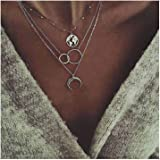 Edary Boho - Collana a strati con ciondolo a forma di luna, in argento, per donne e ragazze