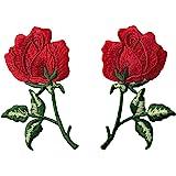 Woohome Broderie Patch Thermocollant, 2 PCS Fleurs de Rose à ...