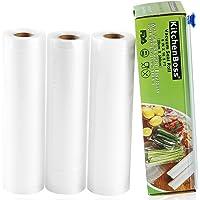 KitchenBoss Sacchetti Sottovuoto per Alimenti, 3 Rotoli 20x500cm Totale15M, (Non più forbici) Rotoli Sacchetti goffrati…