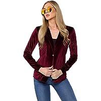 Avinci Women Velvet Single Breasted Blazer Casual Formal Work Office Tailored Jacket Coat