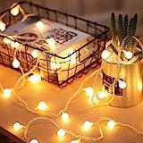 40 LED 16ft Cadena Luces, Impermeable, luz blanca cálida 2700K, Bateria Cargada, Fulighture Decorativas Guirnaldas Luminosas