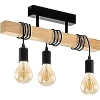 EGLO Lampe de Plafond Townshend 3, Plafonnier Vintage à 3 Flammes au Design Industriel, Suspension Rétro en Acier et en…