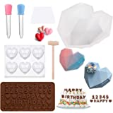 Molde de silicona para tartas con forma de corazón, molde de silicona reutilizable para hornear, molde de silicona alfanuméri