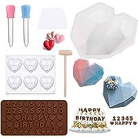 Moule à gâteau en silicone en forme de cœur en forme de diamant, moule à gâteau au chocolat, moule à gâteau…