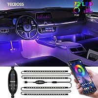 Striscia LED Auto Con APP, TECBOSS Luci LED Interne per Auto Con 72 perline a LED Che Lampeggiavano Con Ritmo Sonoro…