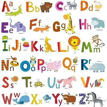 26 Individual Alphabet Animals Self Adhesive Wall Art Stickers
