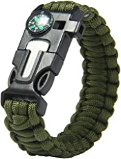 Futaba Survival Bracelet Flint Fire Starter Army Gear with Compass (FUB1215OUT)