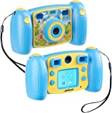 Somikon Kinder Digitalkameras: Kinder-Full-HD-Digitalkamera, 2. Objektiv für Selfies & 2 Sucher, blau (Kamera Kinder)