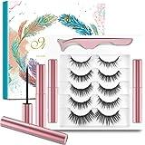 5 Paia di Ciglia Magnetiche con Eyeliner,Ciglia Magnetiche,Incluse 1 Pinza e 2 Magnetico Eyeliner,Senza Colla e Riutilizzabil