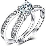 JewelryPalace Fedi nuziali Solitario Anelli di fidanzamento Per donna Anniversario Promessa Anello Set da sposa Argento sterl