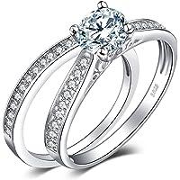 JewelryPalace Anelli Donna Argento 925, Fedine Fidanzamento Coppia, Anello Solitario, 1.3ct Diamante Simulato…