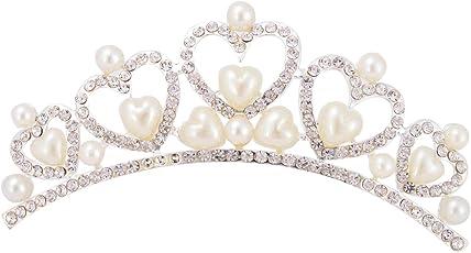 Aaishwarya Pearls in a Heart Princess Tiara Hair Comb For Women/Girls