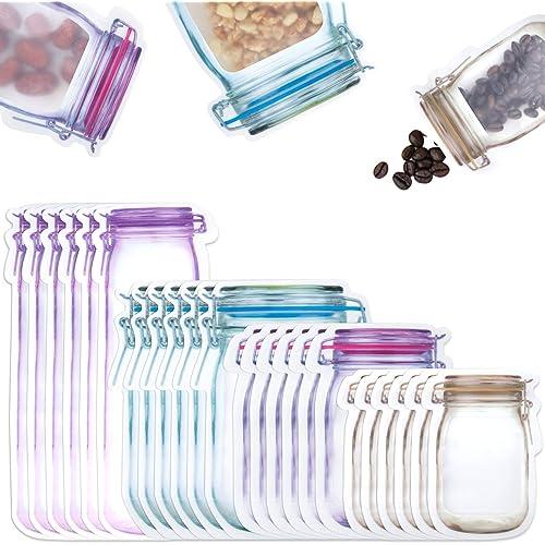 Comius Sharp Bottiglie Mason Jar Borse, 40 Pezzi Sacchetti con Cerniera per Alimenti, Sacchetti per Alimenti Riutilizzabili, Borse Sigillati per Dolci, Snack, Cibo o tè