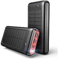 JIGA Solar Power Bank 30000mAh, Solar Power Bank USB-C Ladegerät Externer Akku mit LED-Licht und 3 Ausgängen für iPhone…