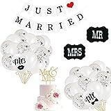 Just Married Palloncino,Palloncini da Matrimonio Gigante,Palloncini in Lattice Bianchi,Palloncini Bianchi per Matrimonio,Mr &