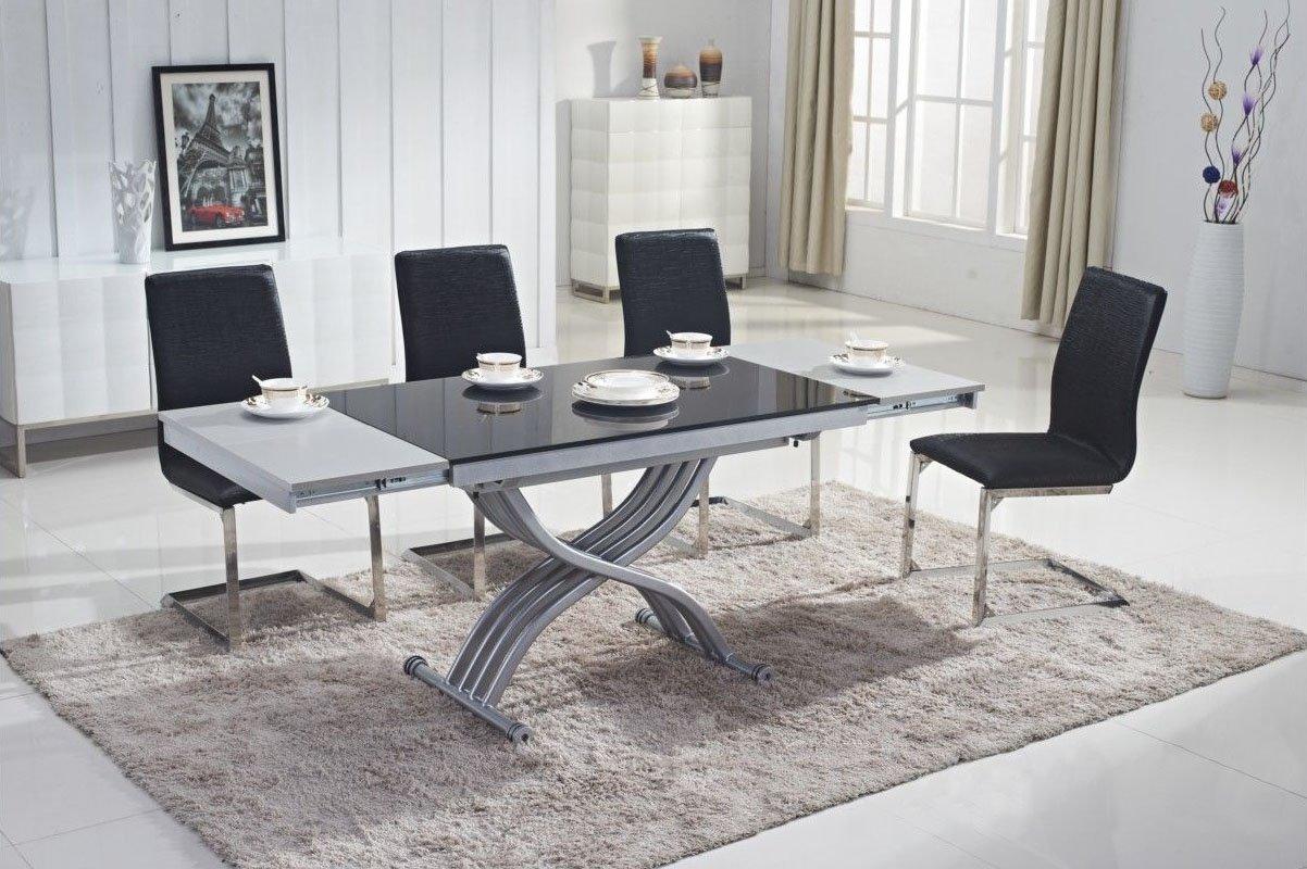 Mobilier Deco Table Basse Noir Relevable En Verre Avec Rallonge