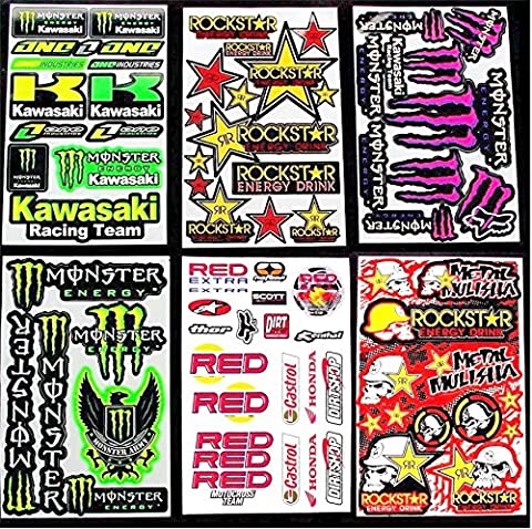 6 BLATT AUFKLEBER VINYL K W1 MOTOCROSS STICKERS BMX BIKE PRE CUT STICKER BOMB PACK ROCKSTAR ENERGY SCOOTER