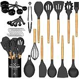 Umite Chef Ustensiles de cuisine - Lot de 24 ustensiles de cuisine antiadhésifs en silicone avec support, poignée en bois rés