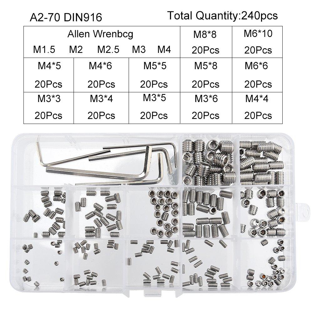 Confezione da 10 A2 Inossidabile estirpare le viti COPPA punto impostato VITE M1.6 M2 M2.5 M3 M4 M5 M6 M8