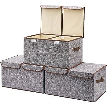 EZOWare Pieghevoli Contenitore Organizzatore Confezione da 3 Cesto Pieghevole Organizzatore con 2 Coperchi - Grigio, 45 x 30 cm