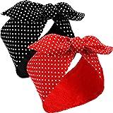2 Piezas Disdemas de Disfraz de Rosie The Riveter Diademas de Lunares Rojos Disdema Vintage Retro Diadema de Alambre para Muj