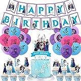 REYOK Frozen Fiesta Cumpleaños Decoración Azul Fiesta Guirnalda de Globos Nieve Banner para Niñas Cumpleaños Baby Shower Desp