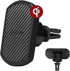 pitaka Handyhalterung KFZ Auto kabelloses Laden, [Lüftungsgitter Magmount Qi] Magnetische Lüftungsgitter Autohalterung 360 Grad Rotation Halterung mit Klaue für Qi Smartphones