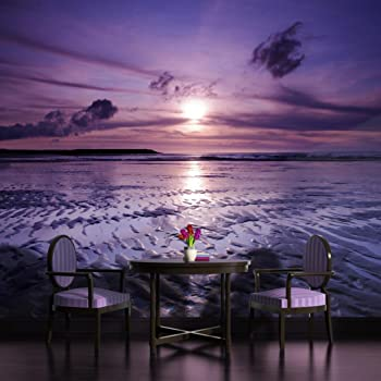 purple sunset on beach with palms wallpaper mural amazon co uk diypurple sunset wallpaper mural