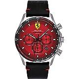 Scuderia Ferrari Men's Red Dial Black Leather Watch - 830713