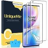UniqueMe [2-pack flexibelt TPU-skärmskydd kompatibelt med OnePlus 9 Pro 6,7 tum med applikator, fingeravtryckskompatibel