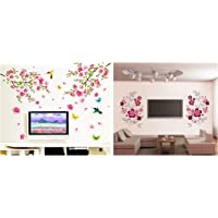 Decals Design 'Flowers Branch' Wall Sticker (PVC Vinyl, 60 cm x 90 cm),Multicolor & 'Flowers with Vine' Wall Sticker (PVC Vinyl, 30 cm x 90 cm, Multicolor) Combo