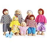 Barn flickor underbara glad familj dockor lekset träfigurer set om 7 personer för barn hus låtsas gåva