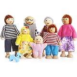 Playtee Felice Famiglia di Bambole di Legno Set di 7 Pupazzi Flessibili
