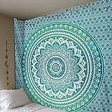 Beliebte indische Tapisserie, dekorativer Wandschmuck, Hippie, Mandala, Polyester, grün, 82x59