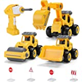 Hautton Take Apart Toy DIY Remote Control 3 in 1 Construction Truck with Drill, Excavator, Bulldozer, Road Roller Kids STEM B