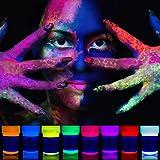 neon nights UV-Licht Bodypainting Schminke   Schwarzlicht-Körperfarbe für Body und Facepainting   Fluoreszierende Farben im Schminkset für knalligen Glow-Effekt   8 x 20ml Leucht-Farben