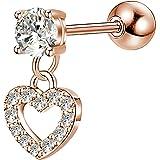 OUFER 16G 316L Stainless Steel Cartilage Earring Heart Shape Dangle Tragus Bars Clear CZ Helix Earrings