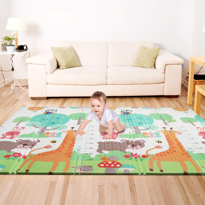 Alfombra Infantil Bammax Alfombra de Niños Plegable Alfombra de Juego Bebé Crawl Mat Niños Playmat Colchoneta de Juegos Plegable para Bebé