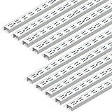 Emuca 7907912 Profil crémaillère double perforation pas 32mm pour équerres, blanc, L 951mm, Set de 10 pièces