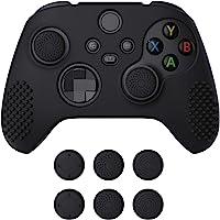 eXtremeRate PlayVital Schutzhülle für Xbox Series S/X,Case Anti-Rutsche Hülle Griffe Skin aus weichem Gummi,6 Stück Schwarze Stick…