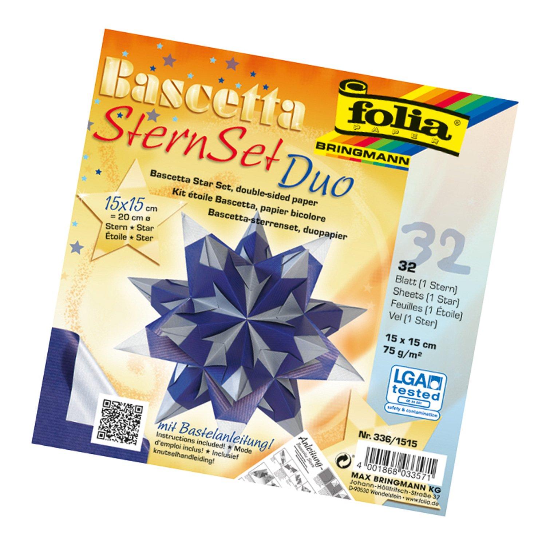 Kit para hacer estrellas Folia 836/3030Bascetta, color azul, azul y plateado, 15 x 15 cm