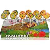 Toonpops Cartoon Lollipops Assorted Fruit Flavoured Swirl Lollipop 1.5 Inch Round, 120 G (Pack Of 12 Pcs)